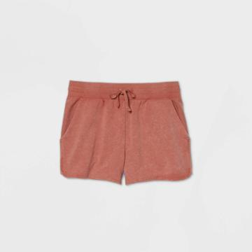 Women's Mid-rise French Terry Shorts 5 - All In Motion Rust Xs, Women's, Red
