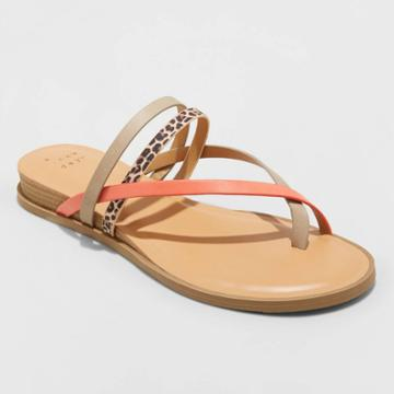 Women's Jasmine Strappy Sliver Wedge Sandals - A New Day Coral