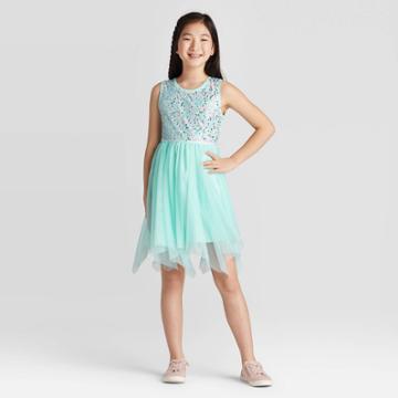 Girls' Sequin Dress - Cat & Jack Aqua Xxl, Girl's, Beige