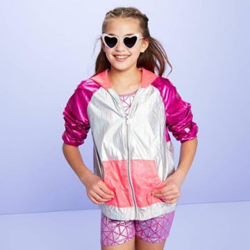 Girls' Woven Windbreaker Jacket - More Than Magic Purple S, Girl's,