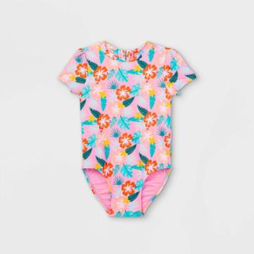 Toddler Girls' Floral Front Zip-up Short Sleeve One Piece Swimsuit - Cat & Jack Pink