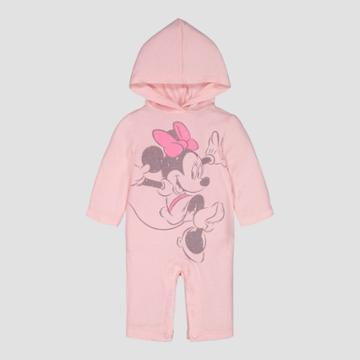 Baby Girls' Disney Minnie Hooded Coverall - Pink