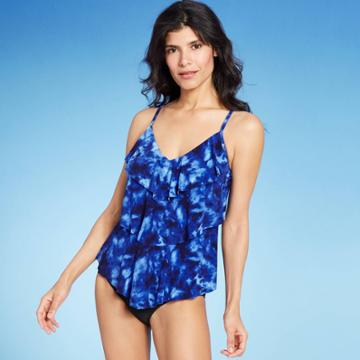 Women's Tiered Tankini Top - Aqua Green Tie Dye Blue