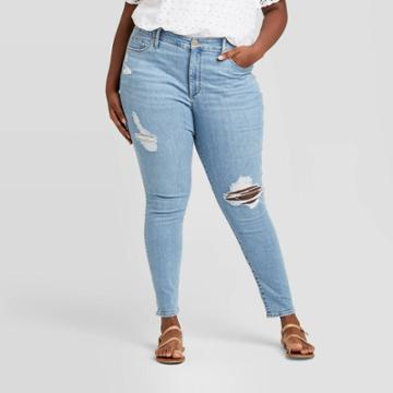 Women's Plus Size Distressed High-rise Skinny Jeans - Universal Thread