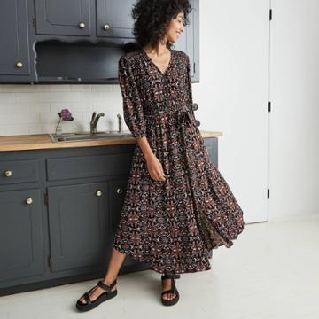 Women's Printed 3/4 Sleeve Dress - Knox Rose Black