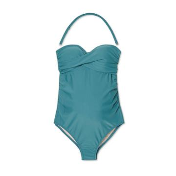 Maternity Bandeau Twist One Piece Swimsuit - Isabel Maternity By Ingrid & Isabel Teal S D/dd Cup, Blue