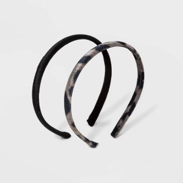 Plastic Velvet Cover Leopard Print Headband - Wild Fable Black