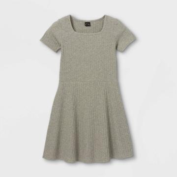 Girls' Square Neck Short Sleeve Ribbed Dress - Art Class Gray
