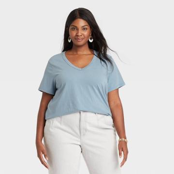 Women's Plus Size Short Sleeve V-neck T-shirt - Universal Thread Turquoise Blue