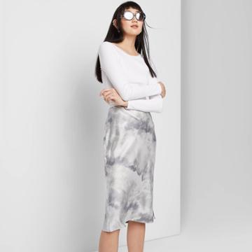 Women's Satin Bias Cut Tie-dye Midi Skirt - Wild Fable Gray