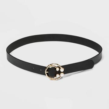 Women's Pearl Center Bar Belt - A New Day Black S, Women's,