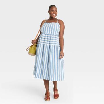 Women's Plus Size Striped Tiered Tank Dress - Universal Thread Blue