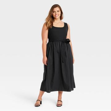 Women's Plus Size Sleeveless Knit Woven Dress - Who What Wear Black