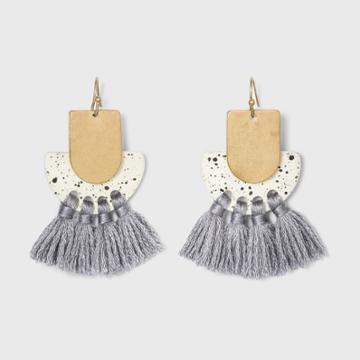 Overlapping Half Moon And Tassel Drop Earrings - Universal Thread Ivory