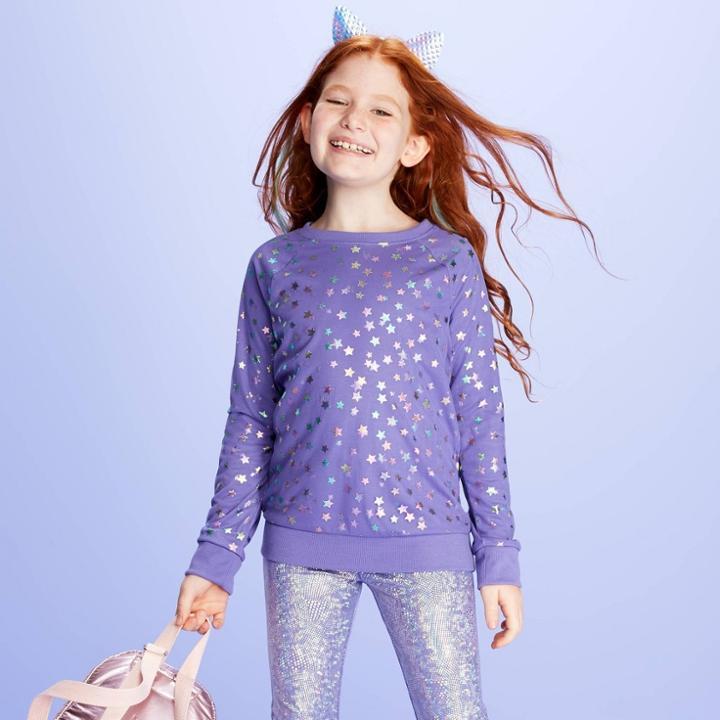 Girls' Long Sleeve Sweatshirt - More Than Magic Purple L, Girl's,