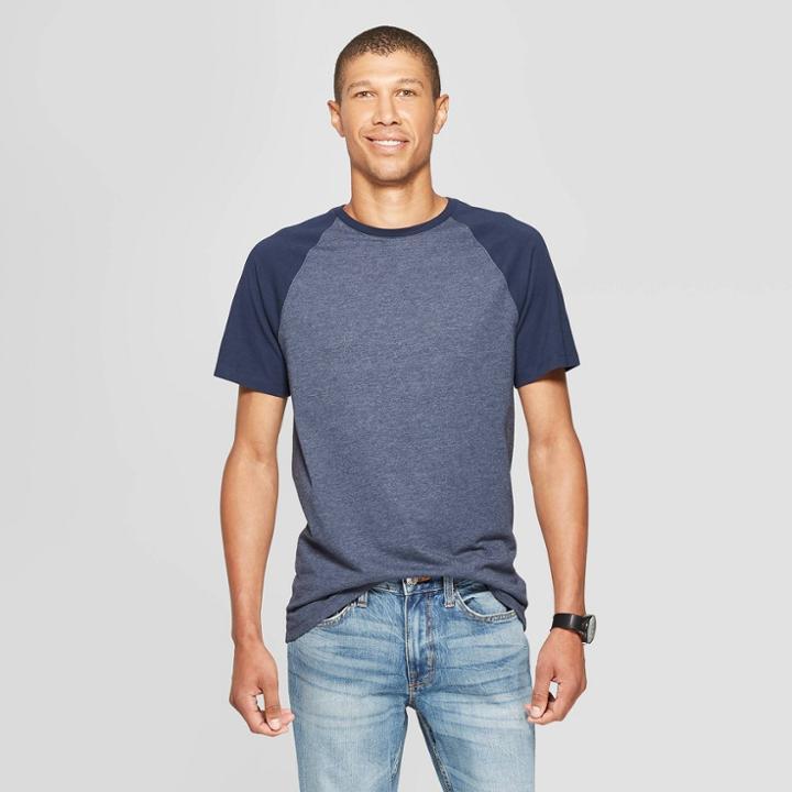 Men's Standard Fit Short Sleeve Novelty Crew T-shirt - Goodfellow & Co Fighter Pilot Blue M,