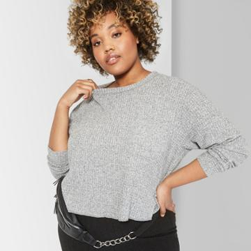 Women's Plus Size Long Sleeve Crew Neck Cozy Waffle Boxy Top - Wild Fable 3x Heather Gray, Heather Grey