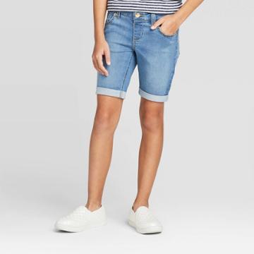 Girls' Knit Bermuda Jean Shorts - Cat & Jack Medium Wash M, Girl's,