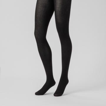 Women's Ribbed Sweater Tights - A New Day M/l, Size: Medium/large, Black