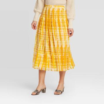 Women's Low-rise Tie-dye Flowy Midi Skirt - Who What Wear Yellow