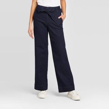 Women's High-rise Belted Denim Wide Leg Pants - A New Day Indigo 0, Women's, Blue