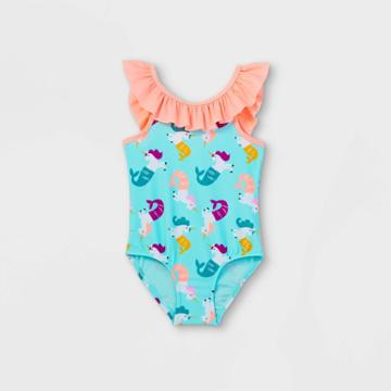 Toddler Girls' Mermicorn Print One Piece Swimsuit - Cat & Jack Turquoise