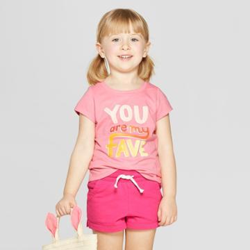 Toddler Girls' Short Sleeve 'fave' Graphic T-shirt - Cat & Jack Pink