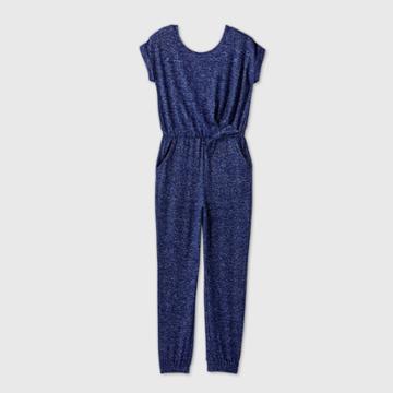 Girls' Short Sleeve Cozy Jumpsuit - Cat & Jack Navy