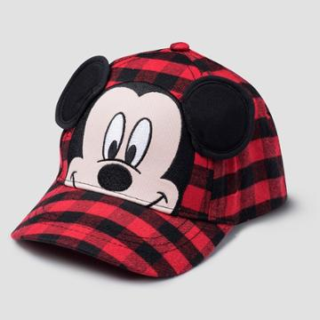 Toddler Boys' Mickey Mouse & Friends Mickey Mouse Plaid Baseball Hat - Black
