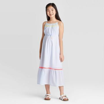 Girls' Embroidered Maxi Dress - Cat & Jack Chambray S, Girl's, Size: