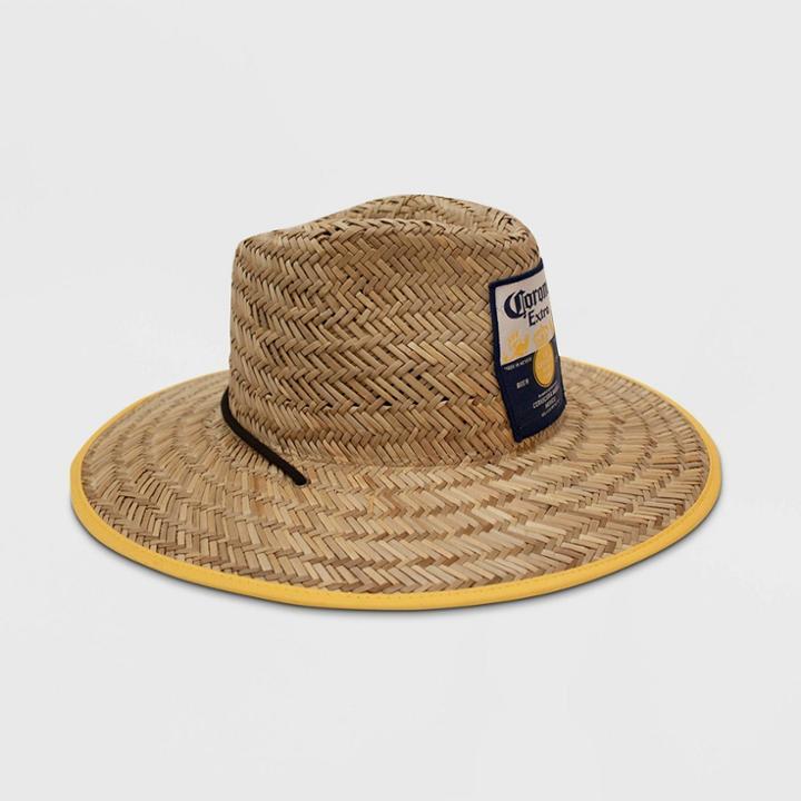 Men's Camo Print Corona Lime Lifeguard Straw Fedora Hat - Natural One Size,