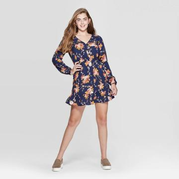 Women's Floral Print Long Sleeve V-neck Button Front Mini Dress - Xhilaration Navy Xs, Women's, Black