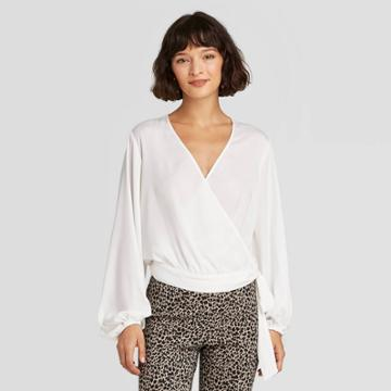 Women's Balloon Long Sleeve Wrap Top - A New Day White