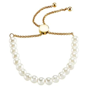 Women's Elya Faux Pearl And Steel Beaded Bracelet - White/gold - Size (6mm) 8, Size: Small, White Gold