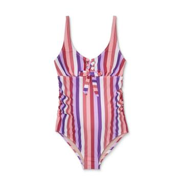 Maternity Striped Lace-up Front-tie One Piece Swimsuit - Isabel Maternity By Ingrid & Isabel S, Pink/purple/white