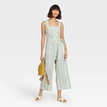 Women's Striped Sleeveless Button-front Jumpsuit - A New Day