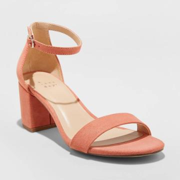 Women's Michaela Microsuede Mid Block Heeled Pumps - A New Day Pink