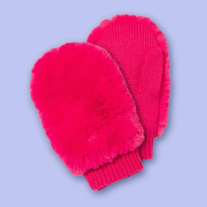 Girls' Faux Fur Mittens - More Than Magic Pink, Girl's,