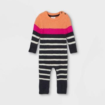 Baby Striped Sweater Jumpsuit - Cat & Jack Orange/navy Newborn