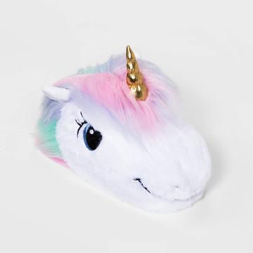 Girls' Unicorn Head Bootie Slippers - Cat & Jack White L, Girl's,