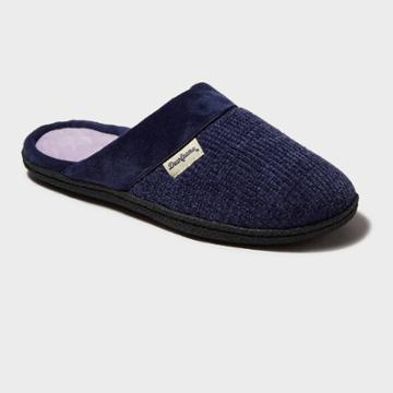 Women's Dearfoams Chenille Wide Width Scuff Slide Slippers - Peacoat
