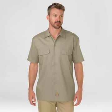 Dickies Men's Big & Tall Original Fit Short Sleeve Twill Work Shirt- Desert