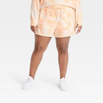 Women's Plus Size Mid-rise French Terry Shorts - All In Motion Blush Peach 1x, Pink Orange