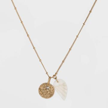 Semi-precious White Jade Leaf And Textured Circle Pendant Necklace - Universal Thread Gold/white, Women's