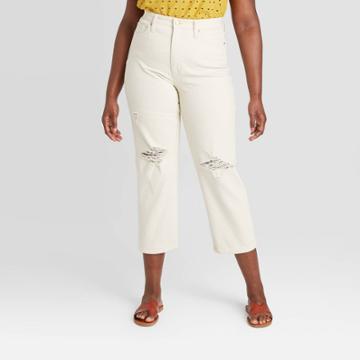 Women's High-rise Vintage Straight Cropped Jeans - Universal Thread Cream 00, Women's, Beige