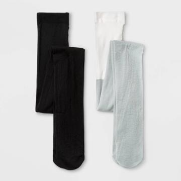 Girls' 2pk Nylon Sparkle Tights - Cat & Jack Black/gray