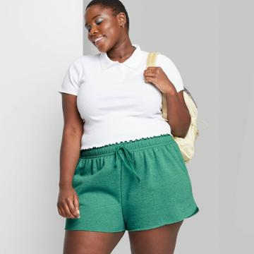 Women's Plus Size High-rise Dolphin Shorts - Wild Fable Vintage Green