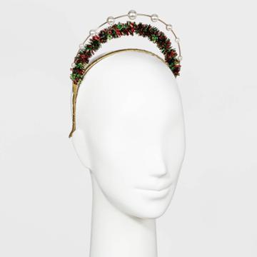 No Brand Pearl And Tinsel Tiara Headband - Gold