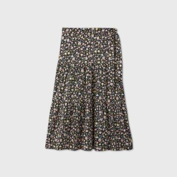 Women's Plus Size Printed Tiered A-line Maxi Skirt - Who What Wear Black