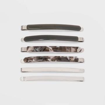 Metal And Lucite Bobby Pin Set 6pc - A New Day Gray